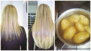 Tratamiento de agua de papa para el cabello