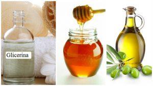 Glicerina, miel de abeja y aceite de oliva