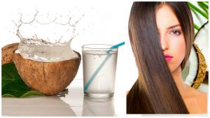 Tratamiento de agua de coco para el cabello