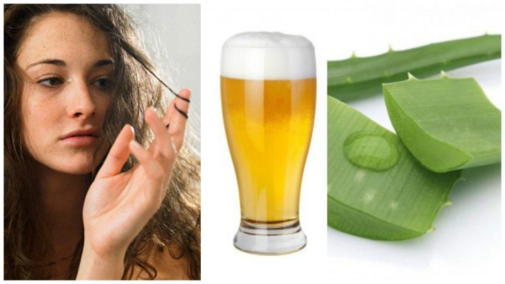 Tratamiento de aloe vera y cerveza para el cabello