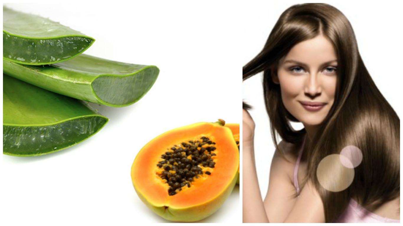 Tratamiento de papaya y áloe vera para el cabello
