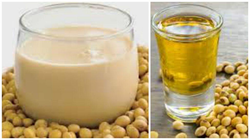 Aceite y leche de soja
