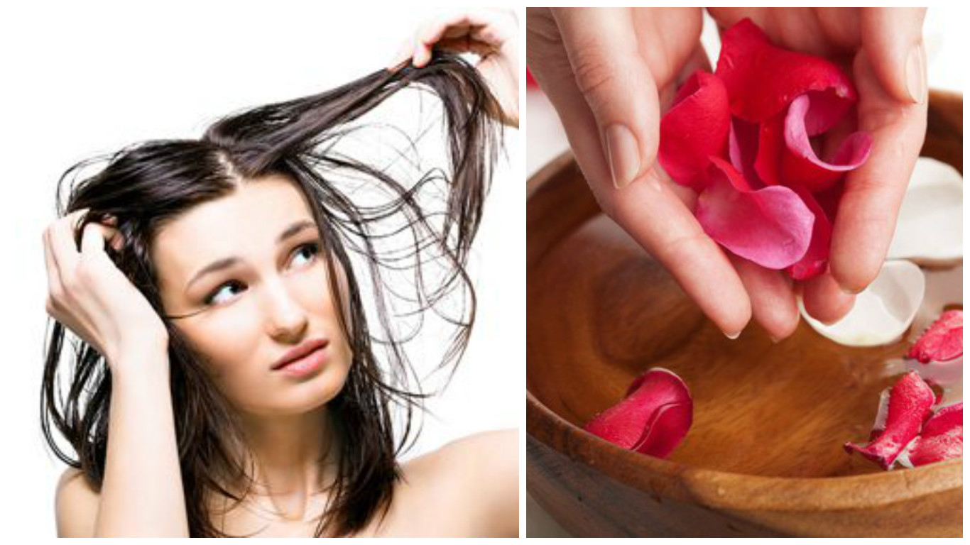 Agua de rosas para el cabello graso
