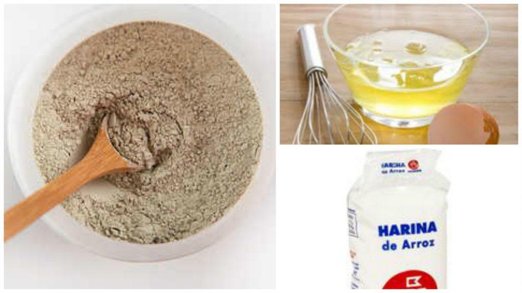 Tierra de fuller, Harina de arroz, Clara de huevo