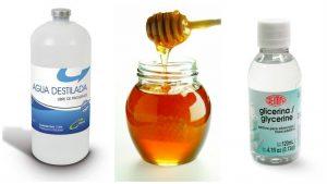 Agua destilada, Miel y Glicerina