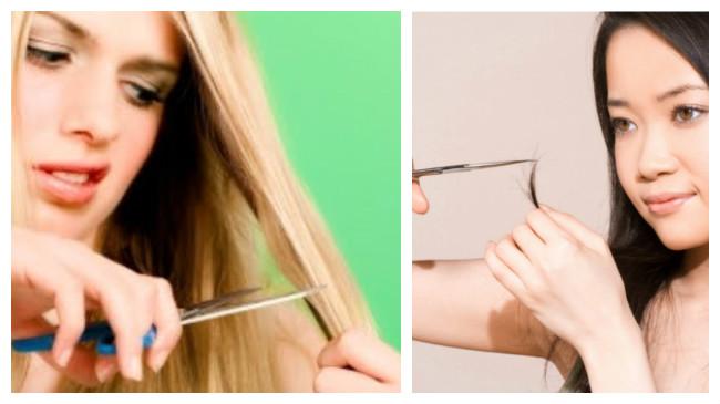como cortar la horquilla del cabello