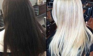 como queda un tinte rubio en cabello oscuro sin decolorar